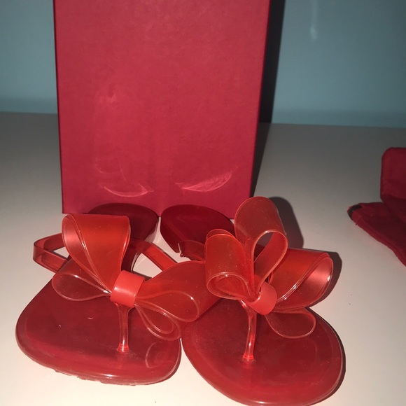 Valentino Red Jelly Bow Flip Flops